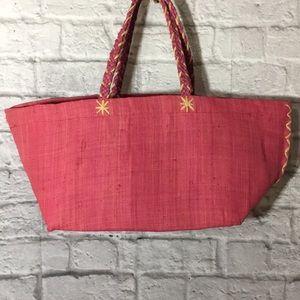 Annabel Ingall Pink 100% Raffia Straw Tote Bag
